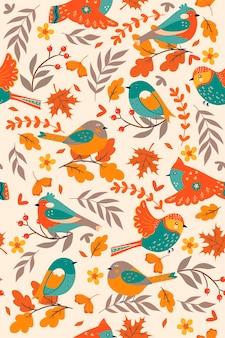 Padrão sem emenda com pássaros de outono. gráficos vetoriais.