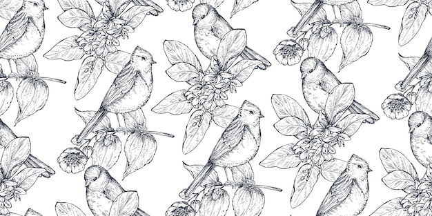 Padrão sem emenda com pássaros desenhados à mão de tinta em galhos de árvores florescendo