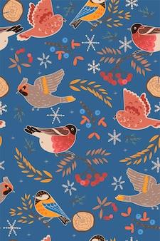 Padrão sem emenda com pássaros russos de inverno. .
