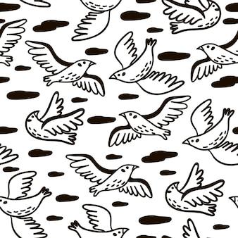 Padrão sem emenda com pássaros. textura monocromática gráfica