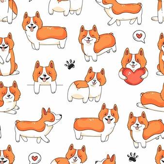 Padrão sem emenda com patas e corações de cachorros corgi bonitos em estilo de desenho animado