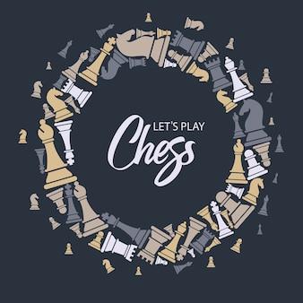 Padrão sem emenda com peças de xadrez