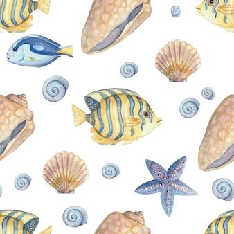 Padrão sem emenda com peixes e conchas em um fundo branco