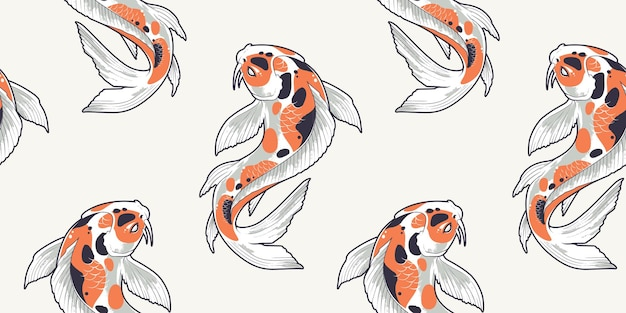 Padrão sem emenda com peixes koi. textura sem fim com carpas japonesas.