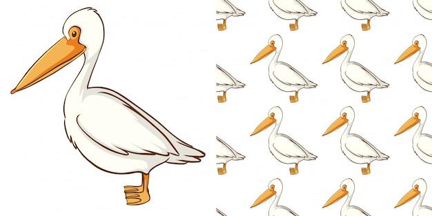 Padrão sem emenda com pelicano fofo