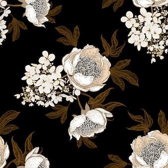 Padrão sem emenda com peônias e flores de hortênsia