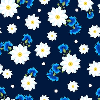 Padrão sem emenda com pequenas e grandes margaridas brancas e flores azuis