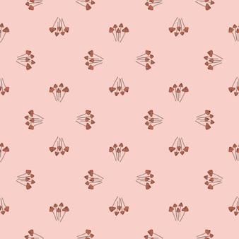 Padrão sem emenda com pequenas silhuetas de cogumelo de psilocibo semilanceata. impressão simples. cores rosa pastel. desenho vetorial para têxteis, tecidos, papel de embrulho, papéis de parede.