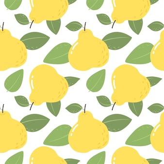 Padrão sem emenda com peras amarelas padrão brilhante para tecido de papel de parede e vetor de papel