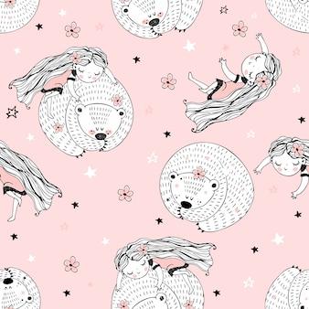 Padrão sem emenda com personagens fofinhos no estilo doodle. a menina e o urso estão dormindo.