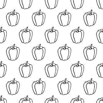 Padrão sem emenda com pimenta de elementos vegetais de mão desenhada. papel de parede vegetariano. para design de embalagens, têxteis, plano de fundo, cartões postais de design e cartazes.