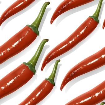Padrão sem emenda com pimenta malagueta vermelha realista
