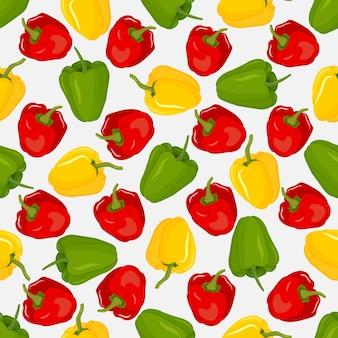 Padrão sem emenda com pimentão vermelho, amarelo e verde. conjunto de pimentões inteiros.