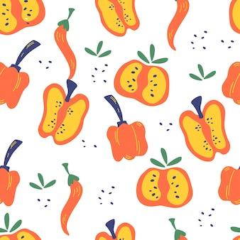 Padrão sem emenda com pimentas. fundo de vermelho, fatias de pimenta, pimenta e pimentão. alimentação vegetariana saudável. impressão vibrante para design de menu ou comida. ilustração vetorial no estilo cartoon