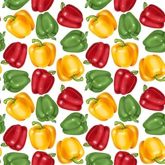 Padrão sem emenda com pimentões amarelos, vermelhos e verdes, mão desenhada
