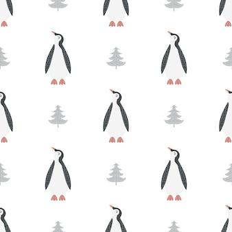 Padrão sem emenda com pinguim em estilo escandinavo.