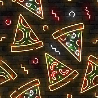 Padrão sem emenda com pizza de néon na parede.