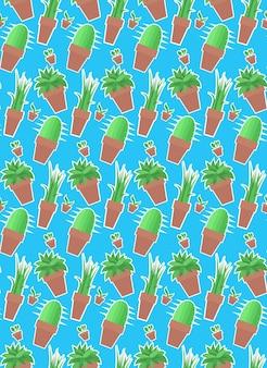 Padrão sem emenda com plantas caseiras em vasos