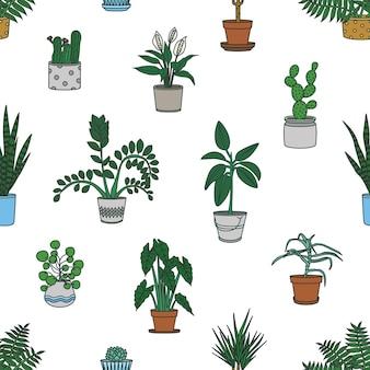 Padrão sem emenda com plantas de casa crescendo em plantadores em fundo branco