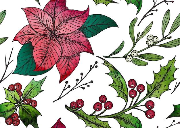 Padrão sem emenda com plantas de inverno mão desenhada.