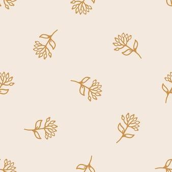 Padrão sem emenda com plantas desenhadas à mão