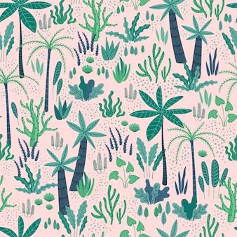 Padrão sem emenda com plantas tropicais abstratas