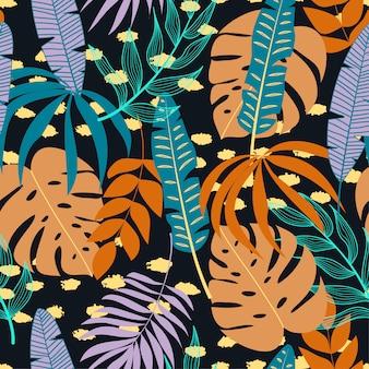 Padrão sem emenda com plantas tropicais e folhas em fundo escuro