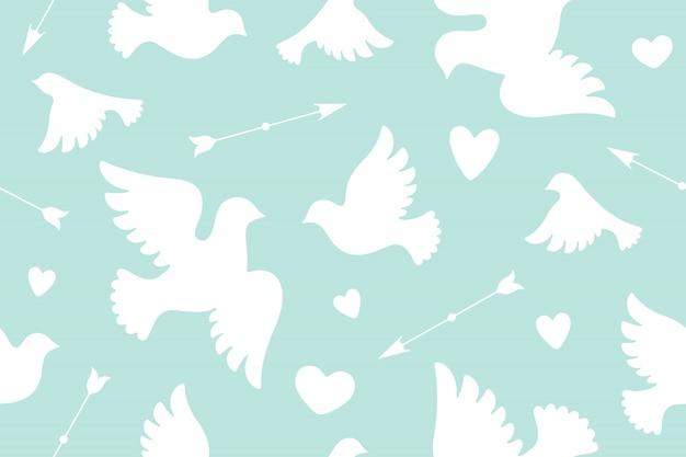 Padrão sem emenda com pombas de amor branco