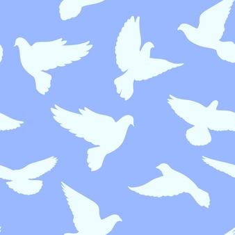 Padrão sem emenda com pombas em um fundo azul. ilustração vetorial