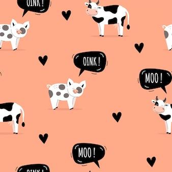 Padrão sem emenda com porcos bonitos. fundo com animais de fazenda. papel de parede, embalagem. ilustração vetorial plana