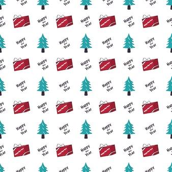 Padrão sem emenda com presente de árvore de natal e impressão festiva de palavras para feliz ano novo e feriado de inverno.