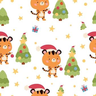 Padrão sem emenda com presentes de papagaio tigre fofo e árvore de natal