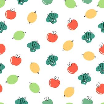 Padrão sem emenda com produtos orgânicos. estilo doodle