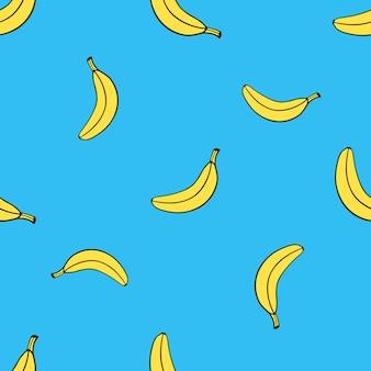 Padrão sem emenda com queda amarela de banana não descascada em estilo pop art. ilustração vetorial