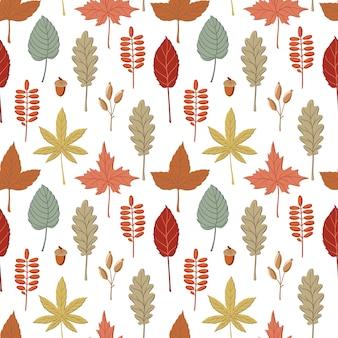 Padrão sem emenda com queda, folhas de outono coloridas, galhos e espigas