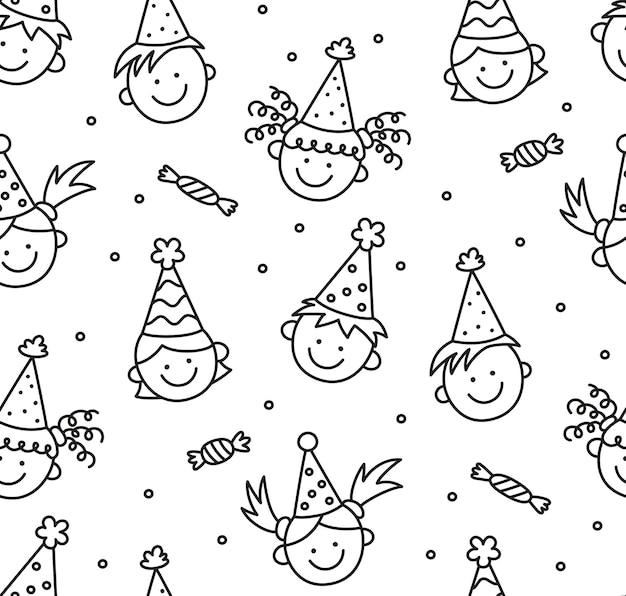 Padrão sem emenda com rabiscos de feliz aniversário. rostos engraçados de crianças. crianças com chapéus festivos em um feriado divertido