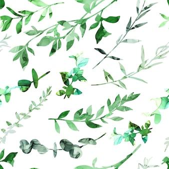 Padrão sem emenda com ramos e folhas abstratos