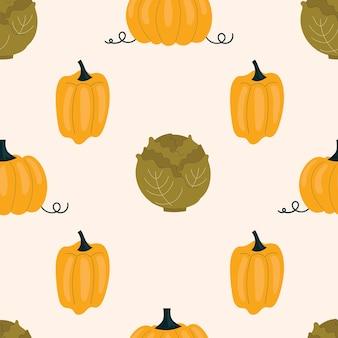 Padrão sem emenda com repolho e pimentão amarelo, colorau. vegetais, vitaminas, vegetarianismo. ilustração em estilo simples, sobre fundo claro.