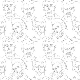 Padrão sem emenda com retrato de homem barbudo uma linha artística