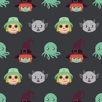 Padrão sem emenda com retratos de personagem de halloween