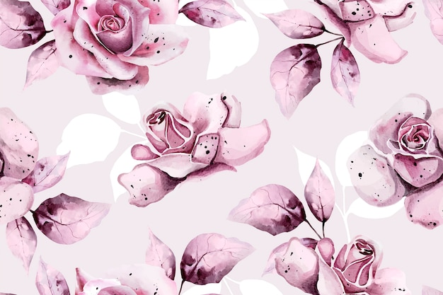Padrão sem emenda com rosas em aquarela
