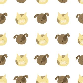 Padrão sem emenda com rostos de gato e cachorro fofos