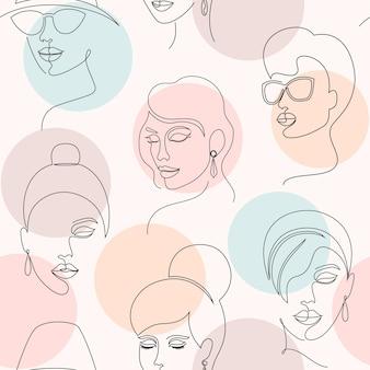Padrão sem emenda com rostos de mulher e círculos em fundo branco.