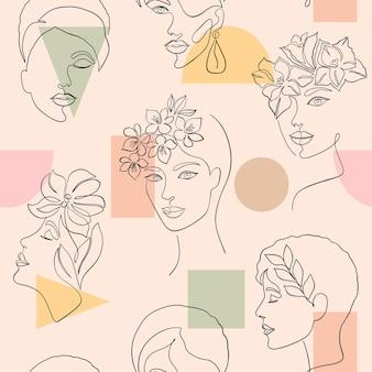 Padrão sem emenda com rostos de mulheres e formas geométricas em fundo claro.