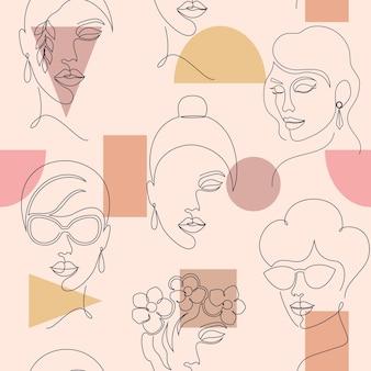 Padrão sem emenda com rostos de mulheres e formas geométricas