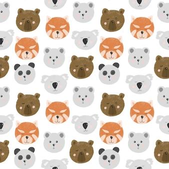 Padrão sem emenda com rostos de urso fofo (urso, urso polar, panda, panda vermelho, coala)