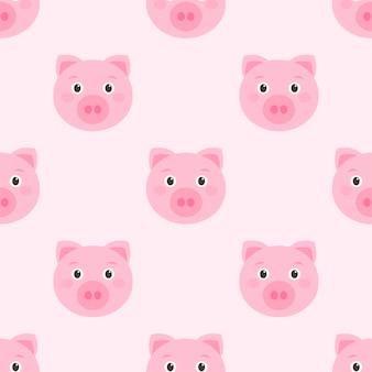 Padrão sem emenda com rostos fofos de porco rosa