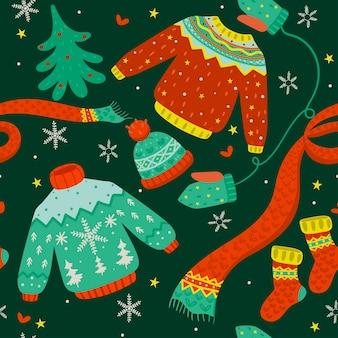 Padrão sem emenda com roupas de inverno e uma árvore de natal.