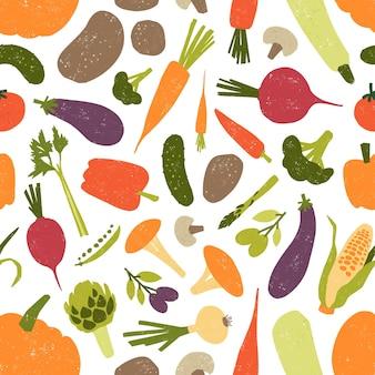 Padrão sem emenda com saborosos vegetais orgânicos frescos e cogumelos em fundo branco.