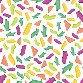 Padrão sem emenda com setas coloridas isométricas. ilustração vetorial